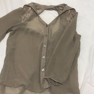 Open back button up blouse